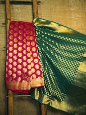 Magenta And Green Banarasi Saree - BANARASI STYLE