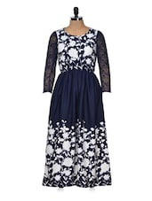 Blue And White Full-sleeved Dress - Queens