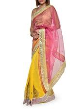 Sheer Net Pink And Yellow Saree - Aggarwal Sarees