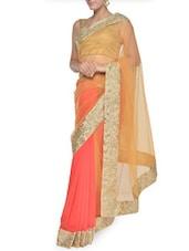 Gold And Orange Art Silk Luxe Saree - Aggarwal Sarees