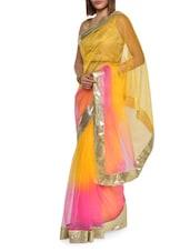 Classy Pink And Yellow Net Saree - Aggarwal Sarees