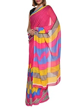 Printed Pink Georgette Saree - Aggarwal Sarees
