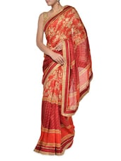 Gold Floral Red Georgette Saree - Aggarwal Sarees