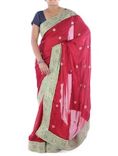 Red Satin Saree With Paisley Border - Saraswati