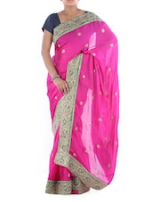 Pink Satin Saree With Paisley Border - Saraswati