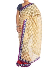 Beige And Red Patterned Saree - Saraswati