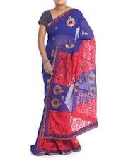 Royal Blue And Red Floral Saree - Saraswati