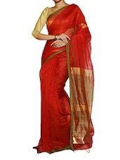 Bright Red Saree With Green Border - Cotton Koleksi