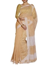 Elegant Cream And White Saree - Cotton Koleksi