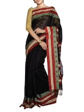 Classy Black Saree With Red And Green Border - Cotton Koleksi