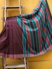 Wine Handloom Reshum Silk Saree With A Striped Pallu - Cotton Koleksi