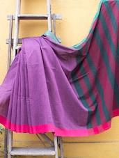 Purple Pakwan Cotton Saree With A Striped Border - Cotton Koleksi