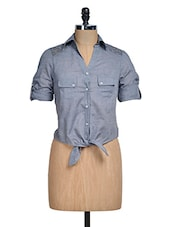 Blue Crop Shirt With Front Knot - Mishka