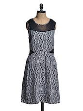 White And Black Printed Dress - Mishka