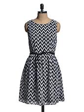 Monochrome Chevron Print Dress - Mishka