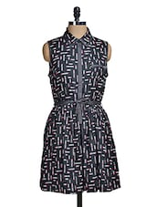 Black Collar Neck Printed Dress - Mishka
