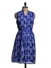 Royal Blue Printed Sleeveless Dress - Mishka
