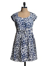 White And Blue Printed Dress - Mishka
