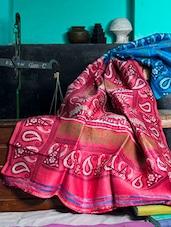 Firoza Blue And Pink Saree - Murshidabadi Silk