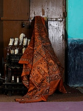 Burnt Orange Printed Saree - Murshidabadi Silk