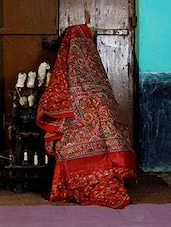 Crimson Red Printed Saree - Murshidabadi Silk