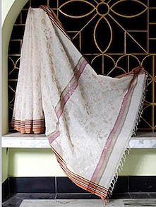 Off-white Saree With Red And Peach Border - SaDaF