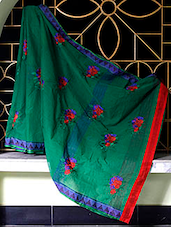 Green Saree With Red And Blue Embroidery - SaDaF