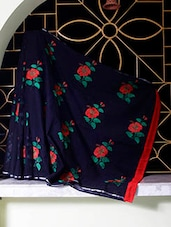 Black Saree With Red And Green Embroidery - SaDaF