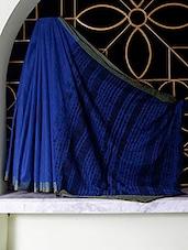 Blue Tangail Cotton Saree With Shibori Aanchal - SaDaF