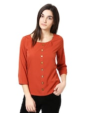 Rust Stone Embellished Top - Citrine