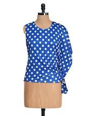 Blue And White Polka-dotted Top - Glam And Luxe