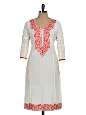 Regal White Kurti With Red Embroidery - Rainbow Hues