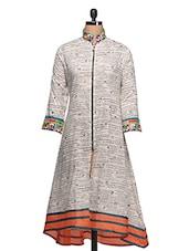 White Front Zipper Cotton Kurta - Rainbow Hues