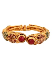 Traditional Gold Brass Bangle With Red Stones - Vendee Fashion