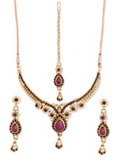Purple And Gold Necklace, Earrings And Maangtika Set - Vendee Fashion