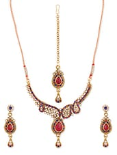 Pink And Blue Stone-studded Necklace, Earrings And Maangtika Set - Vendee Fashion