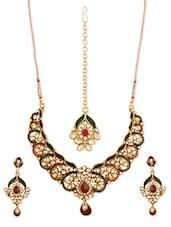 Multi-coloured Stone-studded Necklace, Earrings And Maangtika Set - Vendee Fashion - 944783