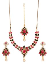 Pink And Sap Green Stone-studded Necklace, Earrings And Maangtika Set - Vendee Fashion