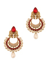 Red And Gold Embellished Earrings With A Pearl Drop Base - Vendee Fashion