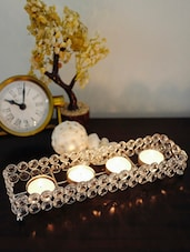 Crystal Tray With Four Votive Holders - The Yellow Door