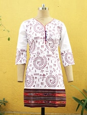 White And Maroon Printed Kurti - Sutee