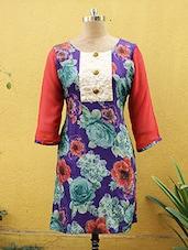 Purple Floral Print Kurti - Sutee
