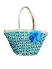 Elegant Blue Flower Embellished Handbag - Ligans NY