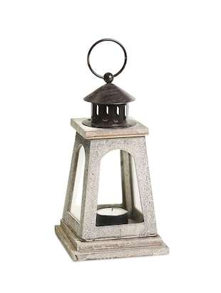 Natural Finish Square Lantern with a wood grain finish