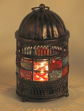 Round Copper Finish Lantern Tea Light Holder With Glass Stones - Aapno Rajasthan