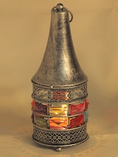 Conical Gun Metal Tea Light Holder With Rosy Silver Finish - Aapno Rajasthan