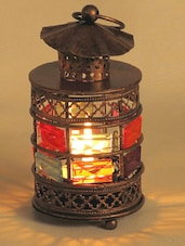 Copper Tone Gun Metal Tea Light Holder With Color Stones - Aapno Rajasthan