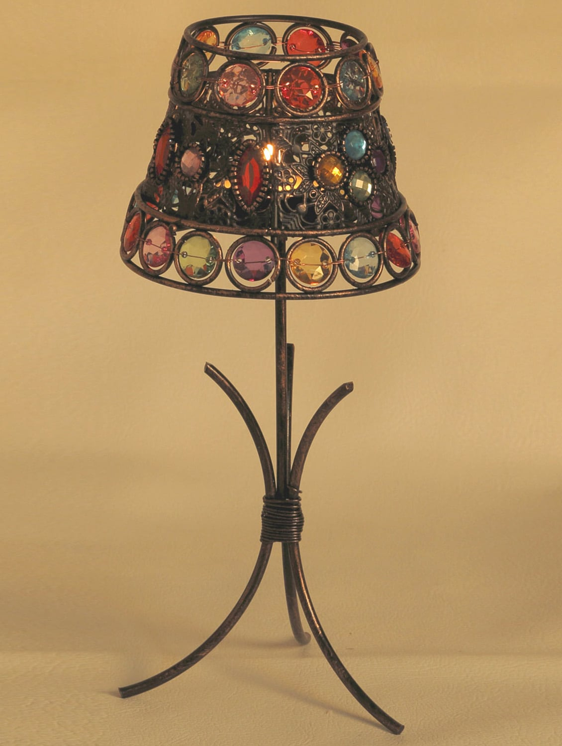 Lamp Shade Tea Light Holder With Color Glass Holders - Aapno Rajasthan