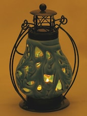 Floral Cut Light Blue Ceramic Wind Lantern Tea Light Holder - Aapno Rajasthan