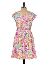 Multi-coloured Floral Printed Short Dress - Myaddiction